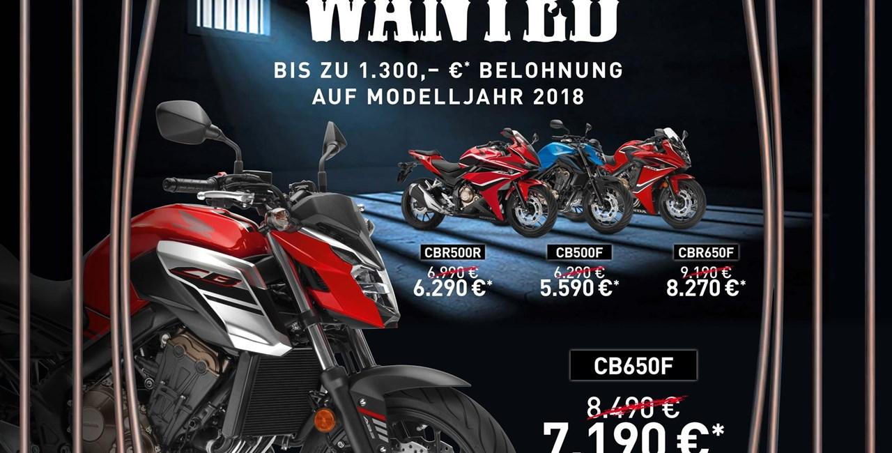 Honda Wanted - Abverkauf von 2018er Modellen