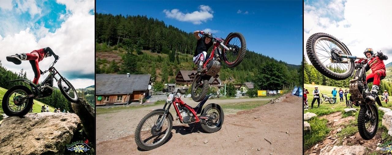 Trial fahren im Trialpark am Salzstiegl