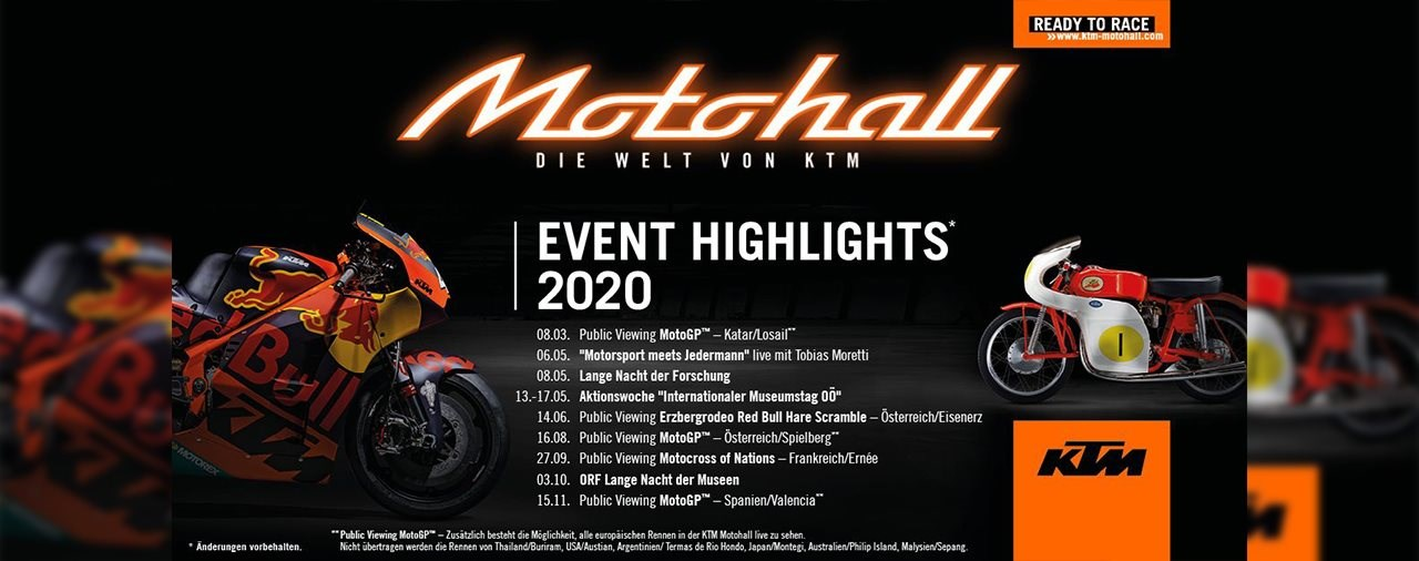 KTM Motohall Programm Highlights 2020