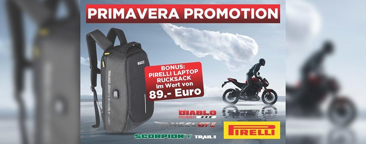 PIRELLI Primavera Promotion: Reifen kaufen, Rucksack GRATIS dazu