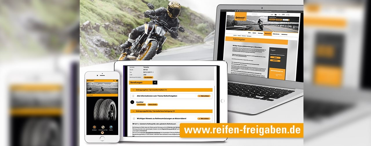 Continental erleichtert die Suche nach Motorradreifen-Freigaben