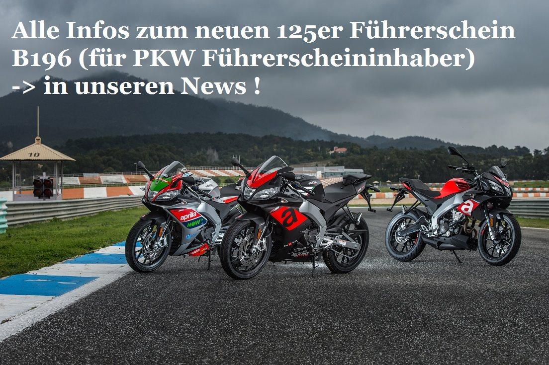 Alle Infos zur neuen 125er Fahrerlaubnis B196 (für PKW Führerscheininhaber) in den News
