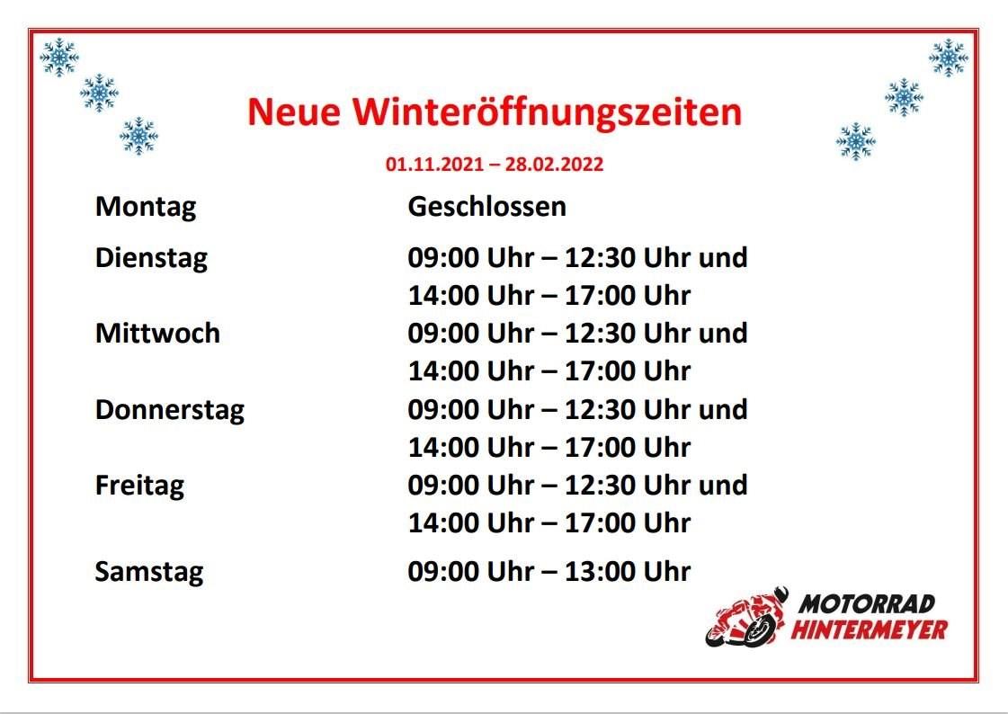 Neue Winteröffnungszeiten  Mobile Version