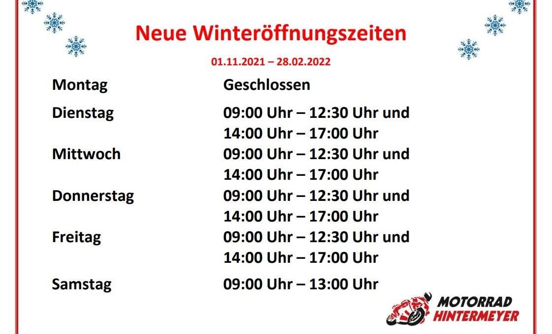 Neue Winteröffnungszeiten