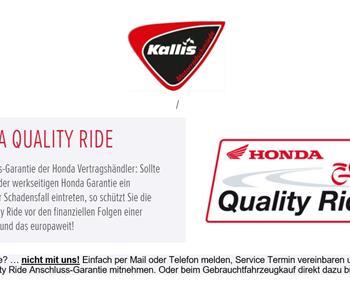 Honda Quality Ride - Anschluss Garantie der Honda Vertragshändler.