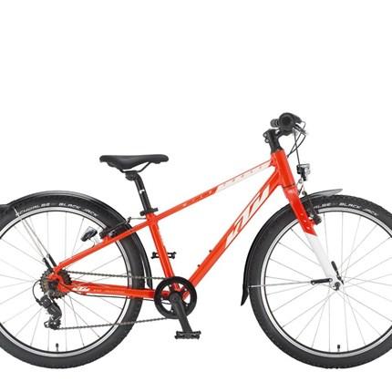 "KTM Wild Cross 24    Farbe: fire orange (white) Rahmen: 24 light K1241, High Quality Aluminium Tubes                              Gabel: Light Unicrown Aluminium 24"" Schaltwerk: Shimano RD-TY200-SS low cage Schalthebel: Shimano SL-RV200-7R ..."