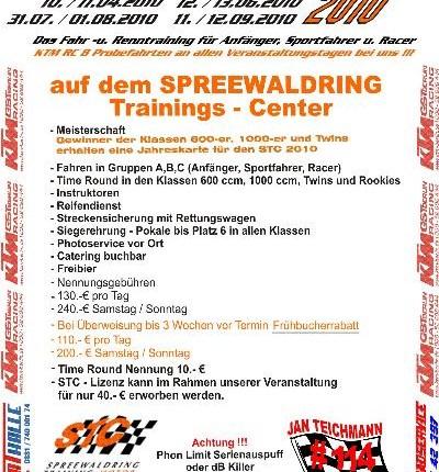 Time rounds Cup 2010 Time rounds Cup 201010./11.04.2010 12./13.04.2010 31.07./01.08.2010 11./12.09.2010Das Fahr und Renntraining für Anfänger,Sportfahrer und R...