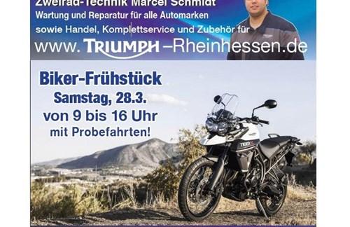 Saisonstart - traditionelles Biker-Frühstück am 28.03.15 mit Probefahrten bei Triumph Rheinhesssen