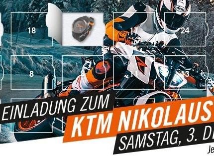 Nikolaustag 2016  Liebe Sportsfreunde, der KTM Nikolaustag steht vor der Tür!! Am kommenden Samstag 03.12.2016 haben wir für euch von 9.00 – 16.00 Uhr geöffnet.Um ...