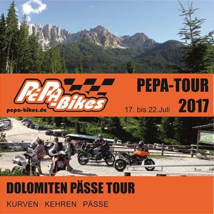 PePa-Bikes DOLOMITEN PÄSSE TOUR PEPA-BIKE'S-DOLOMITEN-PÄSSE-TOUR  Das Motto: Kurven, Kehren und Pässe ...  .... die Tour Startet in Gruppen geführt von uns aus Richtung ...