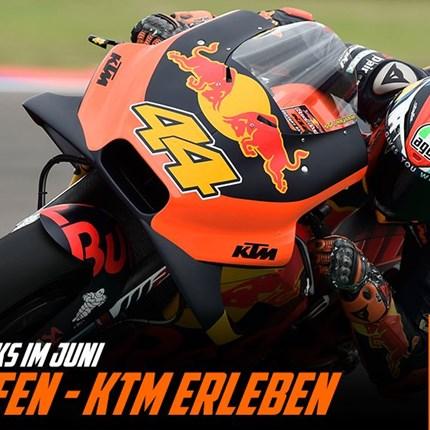 KTM RACE WEEKS - KTM kaufen/KTM erleben  Mit dem Neukauf einer KTM im Juni sicherst du dir dein persönliches KTM FAN PACKAGE!                  Mit dem Neukauf einer KTM... Weiter >>