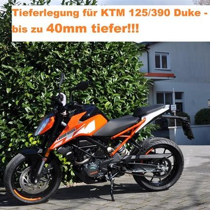 Tieferlegungskit`s KTM Modelle....  bei Motobike Bregenz!!!!  KTM 125 + 390 Duke werden bis zu 40mm niedriger!!! KTM 690 SMC-R wird 30mm oder 50mm niedriger!!! ... Weiter >>