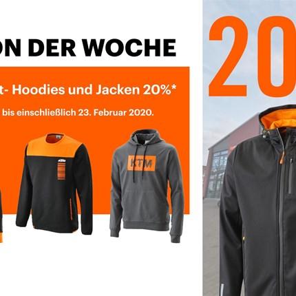 AKTION DER WOCHE  20% auf alle Street Jacken und Hosen* Diese Woche sind in unserem Onlineshop alle Street Jacken und Hosen 20% reduziert*.  Di... Weiter >>