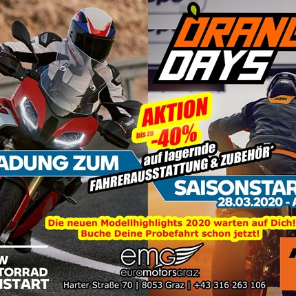Saisonstart - 28.03.2020  Motorrad Saisonstart @ EMG - 28.03.2020 Wir starten mit Euch gemeinsam am 28.03.2020 ab 9 Uhr in die neue Saison. Es erwarten D... Weiter >>