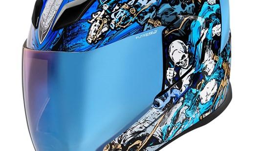 Icon Motorrad Streetfighter Airflite Helm 4 Horsemen blau