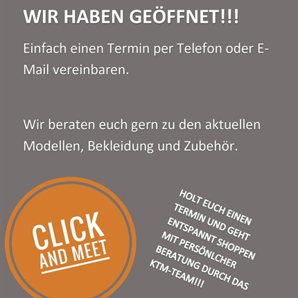 """Wir haben offen!!  Ab sofort gibt es bei uns mit der """"Click and Meet"""" Variante die Möglichkeit wieder vor Ort einzukaufen. Unser Team von KTM Dresd... Weiter >>"""