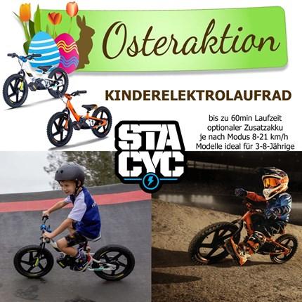 Osteraktion Kinderelektrolaufrad   Osteraktion Kinder Elektrolauftrad Stacyc Wir unterstützen den Osterhasen mit einer Aktion auf unsere lagernden Kinder Elektrol... Weiter >>