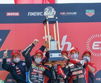 Die Le Mans Trophäe, welche sich das Yoshimura SERT Motul Team mit dem Sieg beim 24-Stunden-Rennen in der ersten Runde der EWC 202... Weiter >>