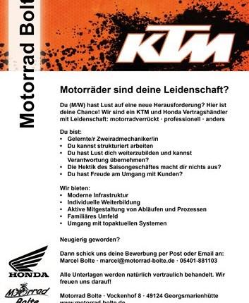 Motorradmechaniker gesucht Motorräder sind deine Leidenschaft?  Du (M/W) hast Lust auf eine neue Herausforderung?  Hier istdeine Chance!  Wir sind ... Weiter >>