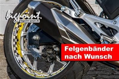 Felgenbänder nach Wunsch Felgenbänder nach Wunsch. Hier zu Beispiel für eine NC 750 X. Der Kunde wünschte sich passend zu seinem Helm, einen SHOEI GT AIR, ... Weiter >>