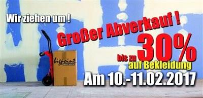GROßER ABVERKAUF ! BigPoint Speyer zieht um Wir ziehen um.Daher machen wir einen großen Abverkauf am 10.-11.02.2017.Und das ist Ihre Chance auf tolle Schnäppchen.Weniger trag... Weiter >>