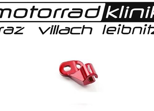 CNC Halter Kupplungsseil rot Tiger 800 CNC gefrästes Austauschteil für den Kupplungszughalter an 800er Motoren. Rot eloxiert.statt €30 nur €10