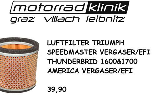 LUFTFILTER SPEEDMASTER VERGASER/EFI/THUNDERBRID 1600&1700 /AMERICA VERGASER/EFI 39,90