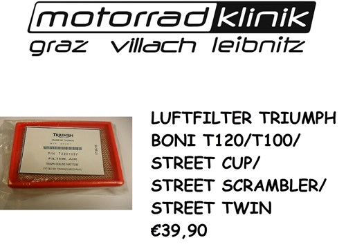 LUFTFILTER BONI T120/T100/STREET CUP/STREET SCRAMBLER/STREET TWIN €39,90