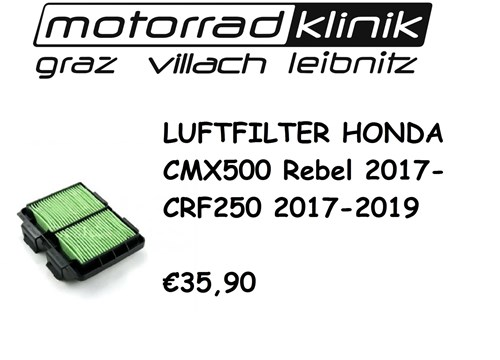 LUFTFILTER CMX500 Rebel 2017-/CRF250 17-19 €35,90