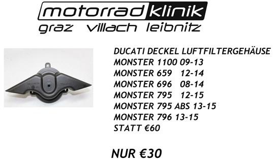 Ducati DECKEL LUFTFILTERGEHAUSE MONSTER 1100 09-13/ MONSTER 659 12-14/MONSTER 696 08-14/MONSTER 795 12-15/MONSTER 795 ABS 13-15/MONSTER 796 13-15 STATT €60 NUR €30