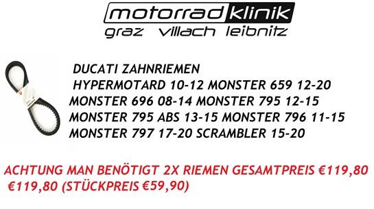 Ducati ZAHNRIEMEN HYPERMOTARD 10-12/MONSTER 659 12-20/MONSTER 696 08-14/MONSTER 795 12-15/MONSTER 795 ABS 13-15/MONSTER 796 11-15/MONSTER 797 17-20/SCRAMBLER 15-20 €59,90