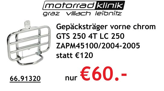 Vespa Gepäcksträger vorne chrom GTS 250 4T LC 250 ZAPM45100 2004-2005 statt €120 nur €60.-