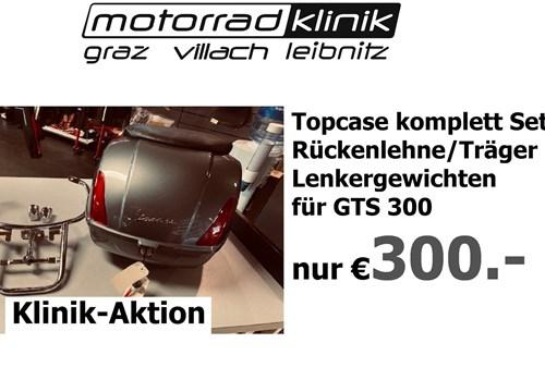 Topcase komplett Set grau mit Rückenlehne /Träger und Lenkergewichten für GTS 300 für nur €300