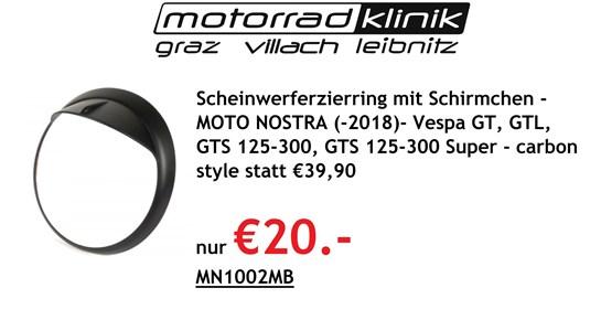 Vespa Scheinwerferzierring mit Schirmchen -MOTO NOSTRA (-2018)- Vespa GT, GTL, GTS 125-300, GTS 125-300 Super - carbon style