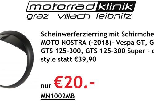 Scheinwerferzierring mit Schirmchen -MOTO NOSTRA (-2018)- Vespa GT, GTL, GTS 125-300, GTS 125-300 Super - carbon style