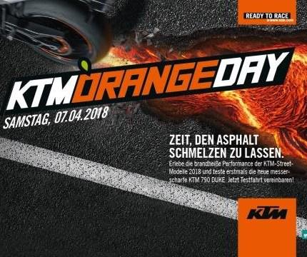 KTM Orangeday am 07. April 2018  Zeit, den Asphalt zum Schmelzen zu bringen! Bei strahlendem Sonnenschein wurde die Motorradsaison 2018 eröffnet und standesgemäß mit ...